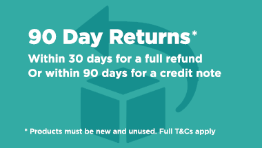 90 day returns. Within 30 days for a full refund or within 90 days for a credit note. Products must be new and unused. Full T&Cs apply.