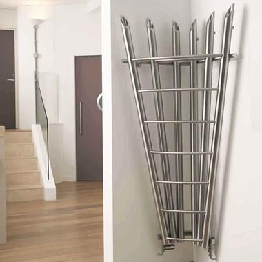 Aeon Bamboo Stainless Steel Corner Vertical Designer Radiator - 1800 x 600mm