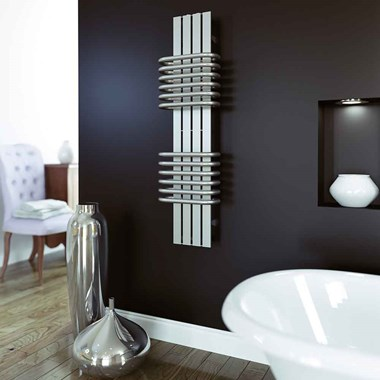 Aeon Bolero Stainless Steel Vertical Designer Heated Towel Rail Radiator - Polished - 630x300