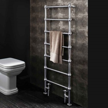 Crosswater Belle Floorstanding Traditional Designer Heated Towel Rail - Chrome - 1340 x 505mm