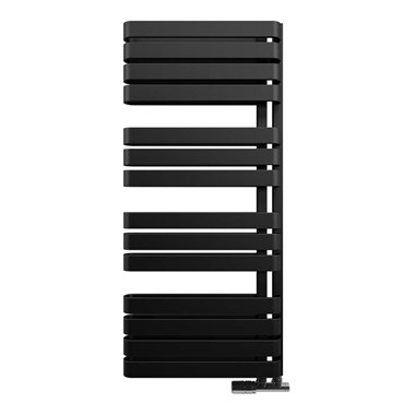 Crosswater Svelte Vertical Designer Heated Towel Rail - Metallic Black Matte - 1100x500