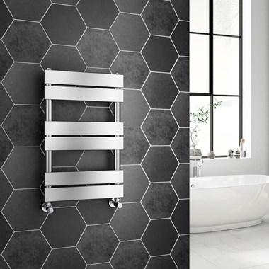 Brenton Avezzano Chrome Flat Panel Heated Towel Rail - 650 x 400mm