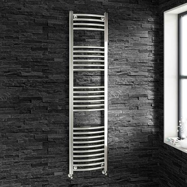 Brenton Chrome Curved Heated Towel Rail - 22mm