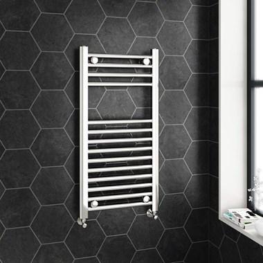 Brenton Chrome Straight Ladder Towel Radiator - 22mm - 800 x 400mm