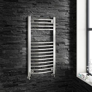 Brenton Chrome Curved Heated Towel Radiator - 22mm - 800 x 400mm