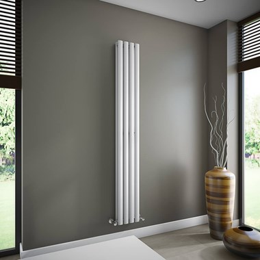 Brenton Oval Double Panel Vertical Radiator - 1800mm x 240mm