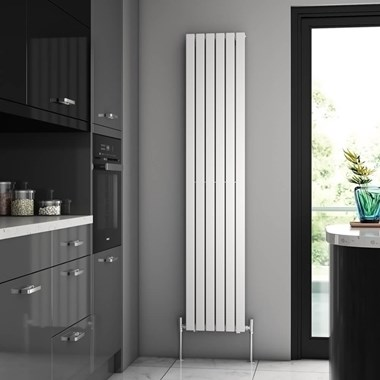 Brenton Flat Single Panel Vertical Radiator - 1800mm x 360mm - White