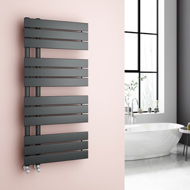 Brenton Fontana Anthracite Flat Panel Offset Heated Towel Rail - 1126 x 500mm