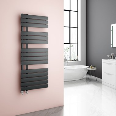 Brenton Fontana Anthracite Flat Panel Offset Heated Towel Rail - 1380 x 500mm