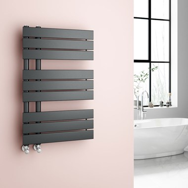 Brenton Fontana Anthracite Flat Panel Offset Heated Towel Rail - 824 x 500mm