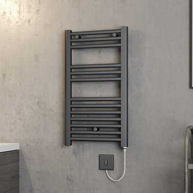 Brenton Hestia Electric Straight Anthracite Heated Towel Rail - 720 x 400mm