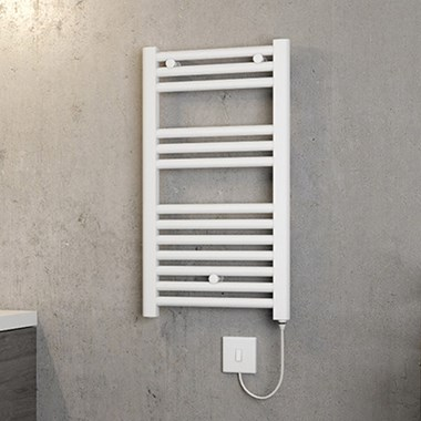 Brenton Hestia Electric Straight White Heated Towel Rail - 720 x 400mm