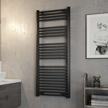 Brenton Matt Black Flat Heated Towel Rail - 1410 x 550mm