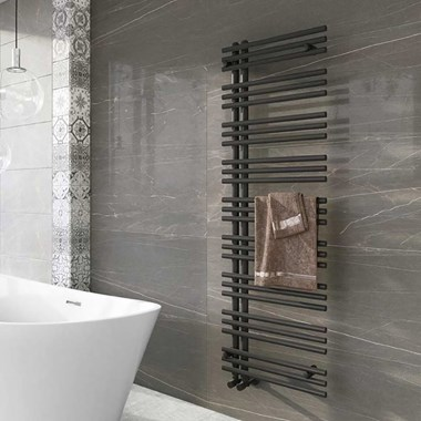 Brenton Montagna Anthracite Heated Towel Rail - 1600 x 500mm