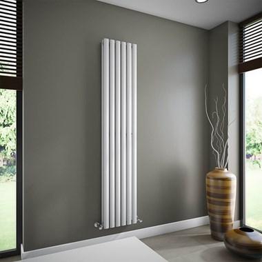 Brenton Oval Double Panel Vertical Radiator - White - 1800 x 354mm