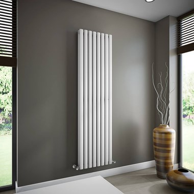 Brenton Oval Double Panel Vertical Radiator - White - 1800 x 472mm