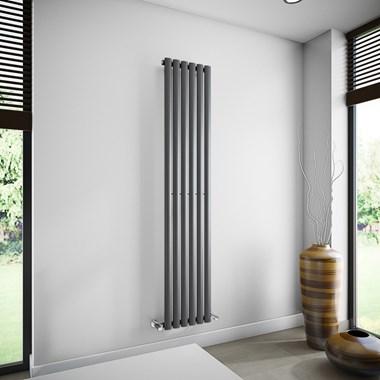 Brenton Oval Single Panel Vertical Radiator - 1800mm x 354mm