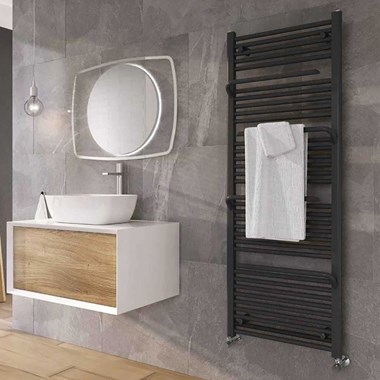Brenton Peak Anthracite Heated Towel Rail - 1500 x 550mm