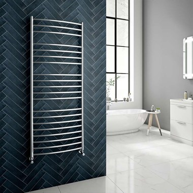 Brenton Fornax Stainless Steel Curved Heated Towel Rail Radiator
