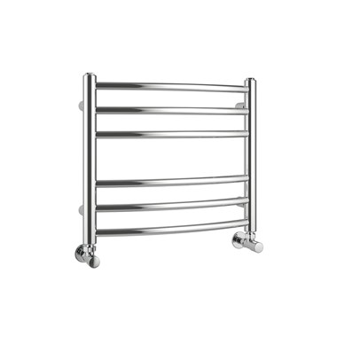 Brenton Fornax Polished Stainless Steel Curved Heated Towel Rail Radiator - 430 x 500mm