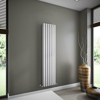 Brenton Oval Double Panel Vertical Radiator - 1600mm x 360mm - White