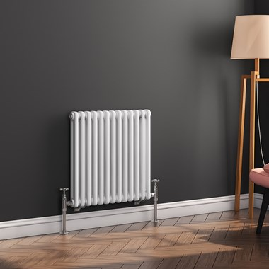 Butler & Rose Horizontal Designer Column White Radiator - 500 x 605mm