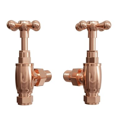 Butler & Rose Crosshead Rose Gold Pair of Angled Radiator Valves & 180mm Tube