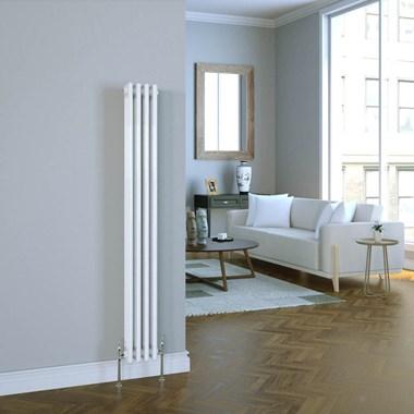 Butler & Rose Vertical Designer Column White Radiator - 1500 x 200mm
