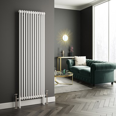 Butler & Rose Vertical Designer Column White Radiator - 1800 x 560mm
