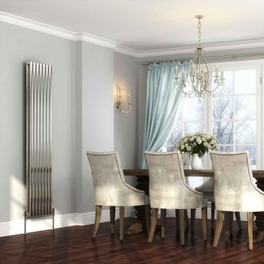 DQ Heating Cove Double Panel Stainless Steel Vertical Designer Radiator
