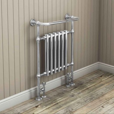 DQ Heating Crosshead Luxury Manual Radiator Valve - Angled - Antique Brass