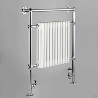 DQ Heating Lynford Floor Mounted Luxury Traditional Heated Towel Rail - Polished Gold - 952 x 685mm