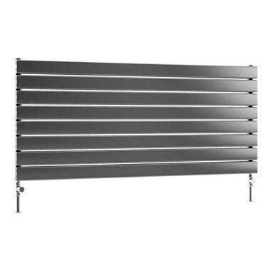 DQ Heating Tornado Single Panel Mild Steel Horizontal Designer Radiator - Dark Grey
