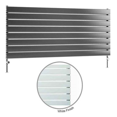 DQ Heating Tornado Single Panel Mild Steel Horizontal Designer Radiator - White
