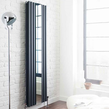 Hudson Reed Revive with Mirror Vertical Designer Radiator - Anthracite - 1800 x 499mm