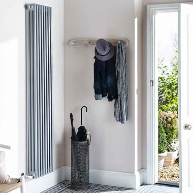 Hudson Reed Colosseum Triple Column Vertical Designer Radiator - Silver - 1800 x 381mm