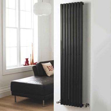 Hudson Reed Kinetic Vertical Designer Radiator - High Gloss Black - 1800 x 360mm
