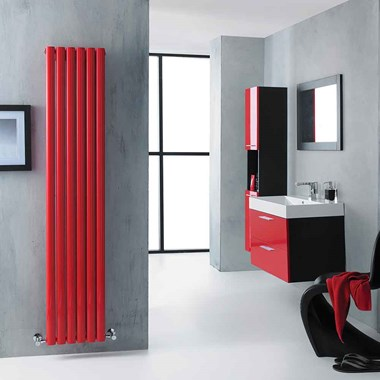 Hudson Reed Revive Double Panel Vertical Designer Radiator - Red - 1800 x 354mm