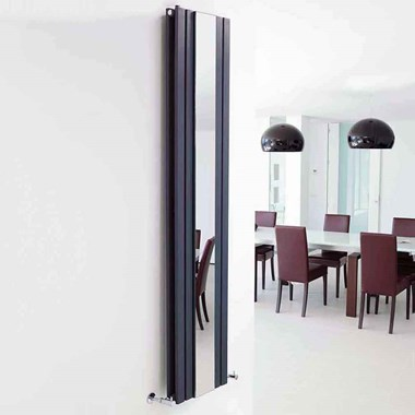 Hudson Reed Sloane Double Panel Vertical Designer Radiator With Mirror - Anthracite - 1800 x 381mm