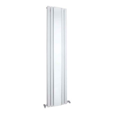Hudson Reed Sloane Double Panel Vertical Designer Radiator With Mirror - White - 1800 x 381mm