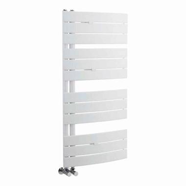 Hudson Reed Elgin Vertical Designer Heated Towel Rail Radiator - White - 1080 x 550mm