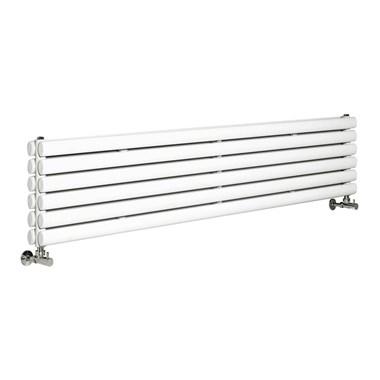 Hudson Reed Revive Double Panel Horizontal Designer Radiator - High Gloss White