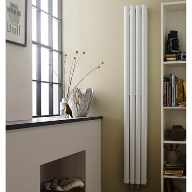 Hudson Reed Revive Compact Double Panel Vertical Designer Radiator - White - 1800 x 236mm