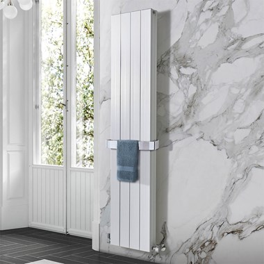 Phoenix Deckon Vertical Designer Wall Mounted Double Panel Aluminium Radiator - 1800x372mm
