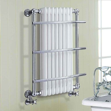 Phoenix Helena Traditional Bathroom White & Chrome Heated Towel Rail Radiator - 874x635mm