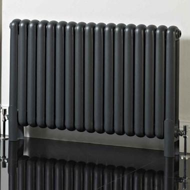 Phoenix Lilly Horizontal Designer Column Style Radiator - Anthracite - 600x556