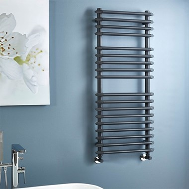 Phoenix Gardo Pre Filled Electric Designer Towel Rail - Anthracite - 1200x500mm