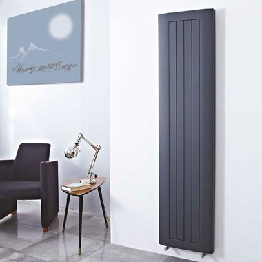 Phoenix Peak Vertical Designer Wall Mounted Aluminium Radiator - Anthracite - 1880x460mm
