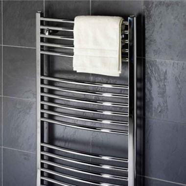 Premier Curved Heated Towel Rail - Polished Chrome