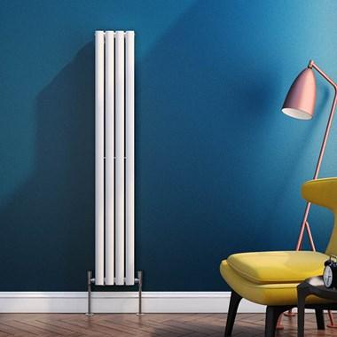 Reina Neva Oval Tube Vertical Designer Radiator - Single Panel - White - 1500 x 236mm